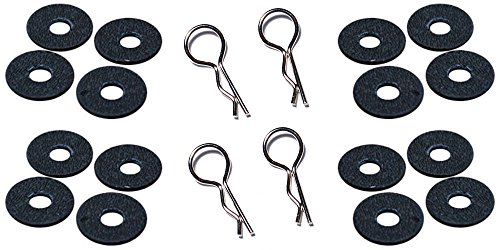Extra Thick Black RC Body Post Washers and Stainless Clips for Traxxas Slash, - Body Saver
