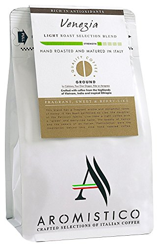 Aromistico | Italian Light Blonde Roast Ground Gourmet Coffee Blend, Intense Crema | VENEZIA BLEND, FRAGRANT, SWEET & BERRY-Like | Cafetiere French Press, Filter, Pour Over, Drip, Moka Pot, Aeropress