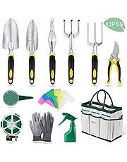 YISSVIC Herramientas de Jardín 12Pcs Kit de Jardinería Juegos de Herramientas con Organizador Bolsa