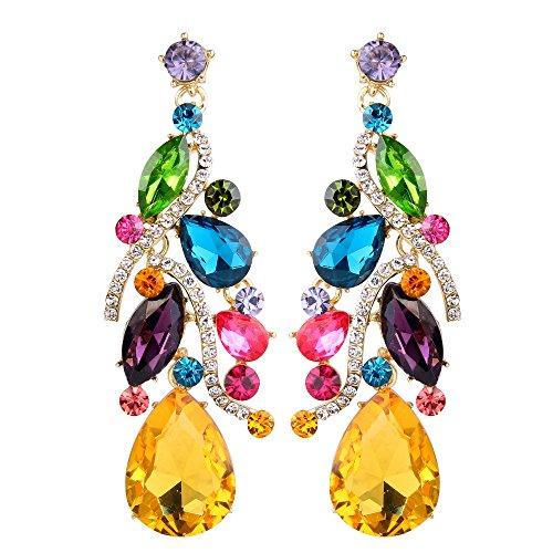 BriLove Women's Bohemian Boho Dangle Earrings with Crystal Multi Teardrop Filigree Cluster Chandelier Multicolor Colorful Gold-Tone -