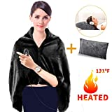 GMAYOO USB Heated Warm Shawl, Plush Heated Throw Blanket with Pillowcase, Heated Cape Heating Lap Blanket as a Pillow, Electric Flannel Blanket 46x35 Inch (Black)