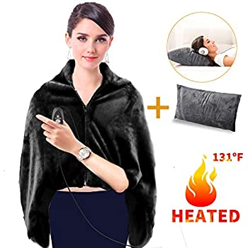 GMAYOO USB Heated Warm Shawl, Plush Heated Throw Blanket with Pillowcase, Heated Cape Heating Lap Blanket as a Pillow, Electric Flannel Blanket