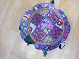 Indian 18'' Cotton Throw Floor Cushion Cover Vintage Embroidered Patchwork Meditation Floor Pillow Seat Pouf Cover,Living Room Vinatge Patchwork Cushion Cover, Pillow Throw,Handmade Cushion Cover,In