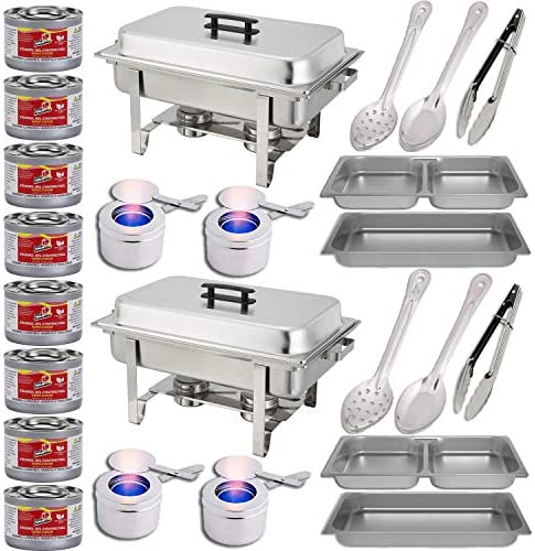 Chafing Dish Buffet Set w Fuel Divided pan 4qt x 2 Full Pan 8 qt Water Pan Frame Fuel Holders 8 Fuel Cans Two 15 spoons Two 11 Spoons Two 9 tongs – Two Full Warmer kits