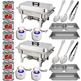 "Chafing Dish Buffet Set w/Fuel - Divided pan (4qt x 2)+ Full Pan (8 qt) Water Pan + Frame + Fuel Holders + 8 Fuel Cans + Two 15"" spoons + Two 11"" Spoons + Two 9"" tongs - Two Full Warmer kits"