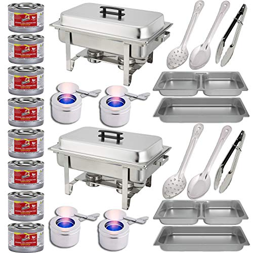(Chafing Dish Buffet Set w/Fuel - Divided pan (4qt x 2)+ Full Pan (8 qt) Water Pan + Frame + Fuel Holders + 8 Fuel Cans + Two 15