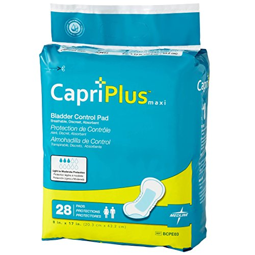 Bladder Control Absorbent (Medline BCPE03Z Capri Plus Bladder Control Pads, 8