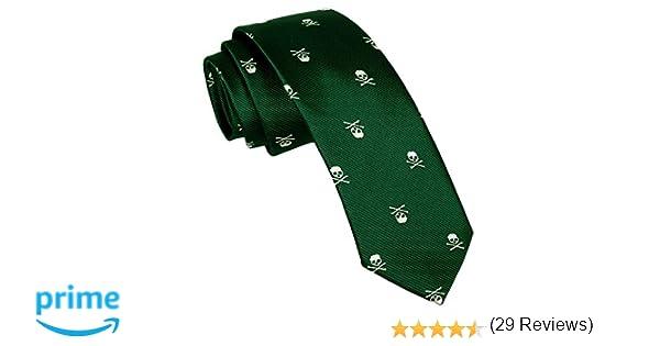 Alizeal Calavera–Corbata Estrecha para Hombre Verde Oscuro: Amazon ...