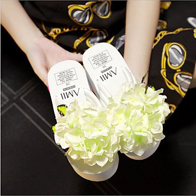 Women'szapatos de plataforma de tela Flip Flops zapatillas exteriores / Vestido Azul/Rosa/Violeta / Blanco US5 / EU35 / UK3 / CN34