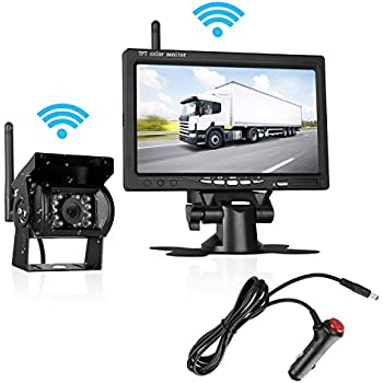 LeeKooLuu Backup Camera Wireless Built in and 7 Display Monitor Kit Reverse camera Parking system Working distance range over 100 ft Waterproof Night Vision for Truck/Van/Trailers/Campe LKL-00108