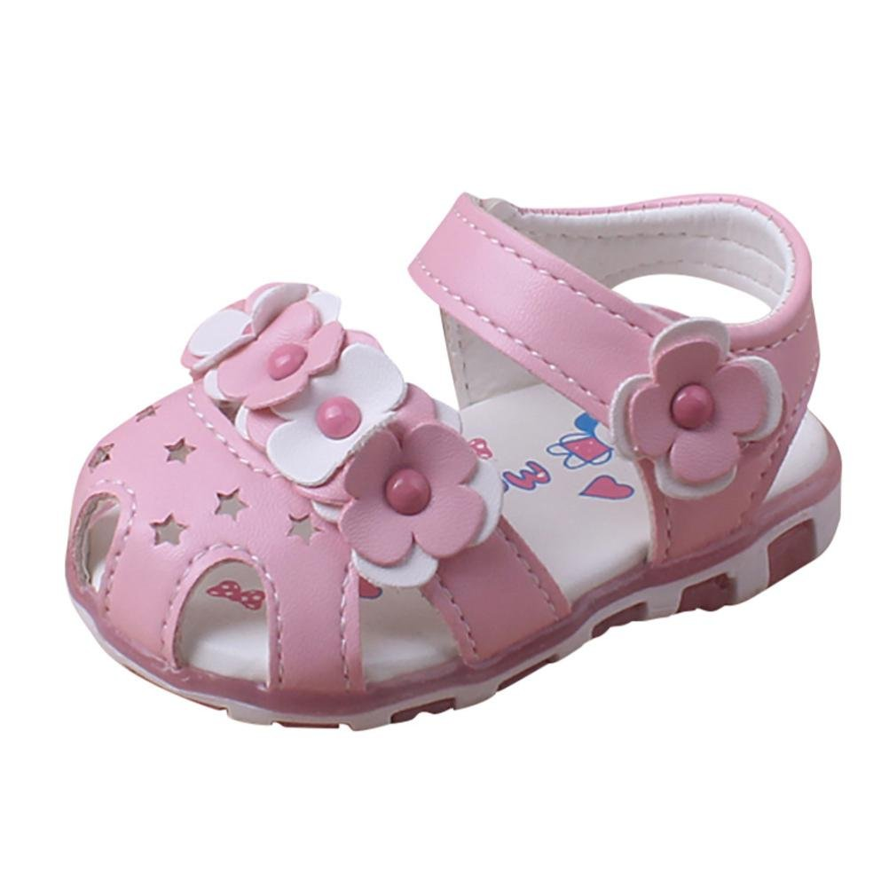 WARMSHOP Cute Baby Girls Flower LED Light Anti-Slip Soft Sole Toddler Sandals Casual Crib Shoes Pink, 0~6 Month