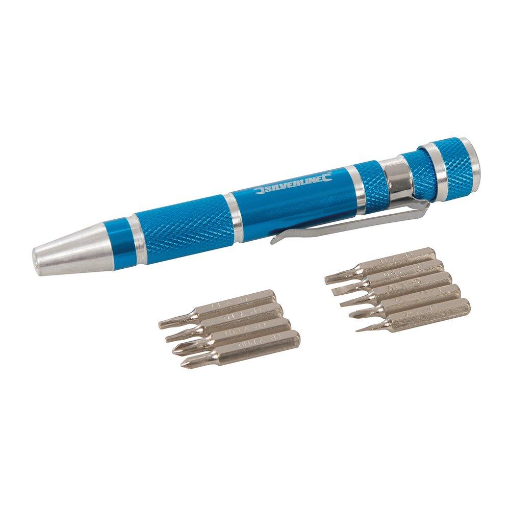 Silverline 633922 - Destornillador de precisión y accesorios, 9 ...