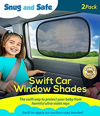 Car Sun Shade (2 Pack) - Black Sunshade Visor Set for Babies & Kids - Clings To a Rear Side Window And Covers Your Baby Or Toddler - Shades Block 98% Of UV Heat Rays Glare In Cars - LIFETIME WARRANTY