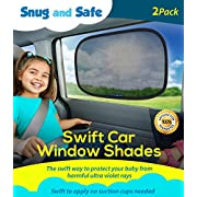 Car Sun Shade (2 Pack) - Black Sunshade Visor Set for Babies & Kids - Clings To a Rear Side Window And Covers Your Baby Or Toddler - Shades Block 98% Of UV Heat Rays Glare - LIFETIME WARRANTY