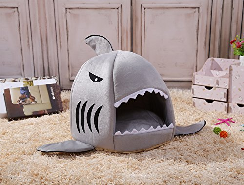 Image of M&G House Cat Bed Cave, Grey Shark Pet House with Removable Bed Cushion Mat for Large Cat Dog Cave Bed,Waterproof Bottom Most Lovely Pet House Gift M