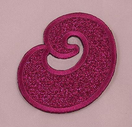 Amazon com: Embroidered Glitter Pink Retro Bubble Monogram Letter O