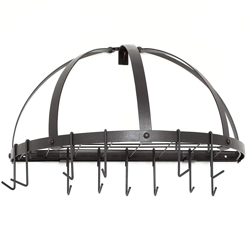 SKB family Old Dutch Wall Pot Rack - Half Round, 22'' x 12.5'' x 11.5'' x 27 lbs, Graphite