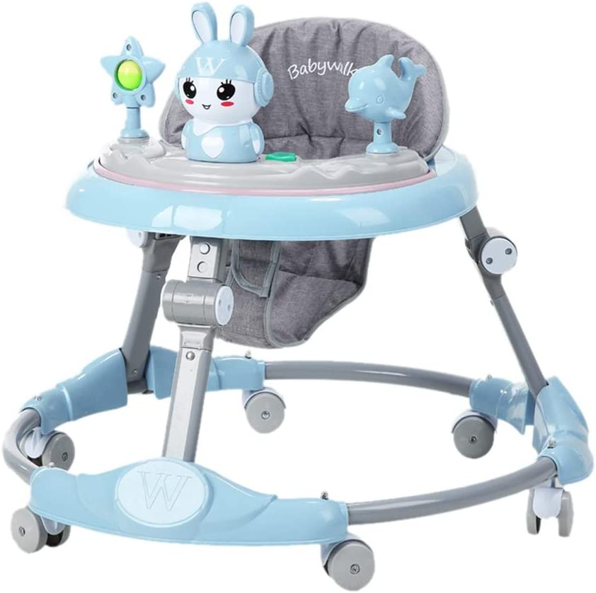 Color : Pink LY Adjustable Height Baby Walkers For Boys And Girls,Anti-Rollover Folding Toddler Walker For Baby 6-18Months,Easy Clean Plate//Mute Wheel