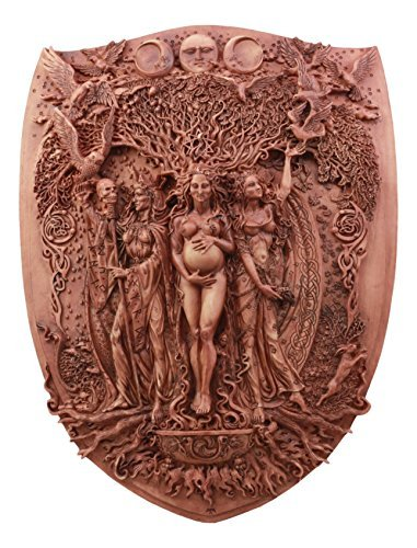 Ebros Pagan Wiccan Triple Goddess Maiden Mother Crone Shield Wall Plaque 14''H Triple Moon Wall Decor Sculpture