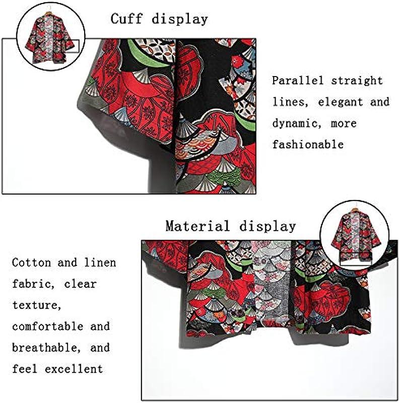 Japanischer Kimono-Cardigan für Męskie, Vintage-Stil, Herbst, nationaler Stil, Blumenmuster, lockere Jacke, A-4XL: Küche & Haushalt