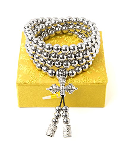 phoenix outdoor 108 Destiny Nepal Prayer Full Metal Buddism Bead Mala Necklace (Full Stainless Steel) (Metal Necklace Bracelet)