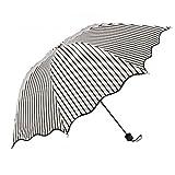 XENO-Fashion Stripe Windproof Anti UV Sun/Rain Princess Umbrella Folding Parasol