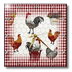 3dRose dpp_109341_2 Country Red Checks with Black 'n White Roosters-Wall Clock, 13 by 13-Inch