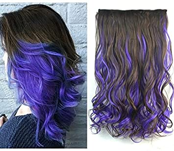 Amazon Com 20 Curly Dark Brown Mix Purple Two Colors Ombre Hair