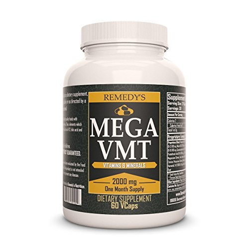 Mega Aluminum Bottle (MEGA VMT Remedys Nutrition Multivitamin Organic Vegan 1000 mg per capsule / 2000 mg daily/ 60,000 mg per bottle MEGA STRENGTH Vcaps)