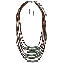 BAUBLES & CO DIMPLED BEAD MULTI STRAND CORD NECKLACE SET