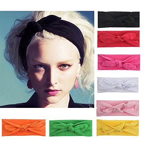 Stretchy Women Headbands Boho Turban Headwraps Hair Bows Accessories (Solid Color 8pcs)