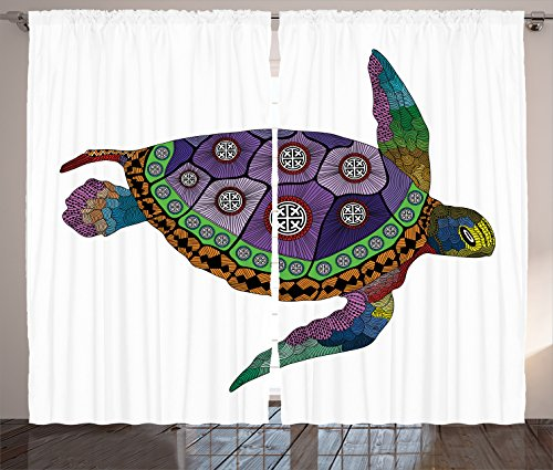 """Ambesonne Psychedelic Curtains, Sea Turtle with Colorful Ornamental Style Tattoos on Animal Art Work, Living Room Bedroom Window Drapes 2 Panel Set, 108"""" X 84"""", Purple Orange"""