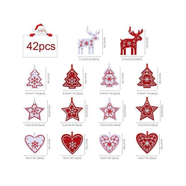 Naler 42 Pezzi di Decorazioni Natalizi in Feltro Ornamenti Appesi di Albero di Natale, Stella, Renna, Cuore Decorazione Natalizia per Casa, Bianco e Rosso 2 spesavip