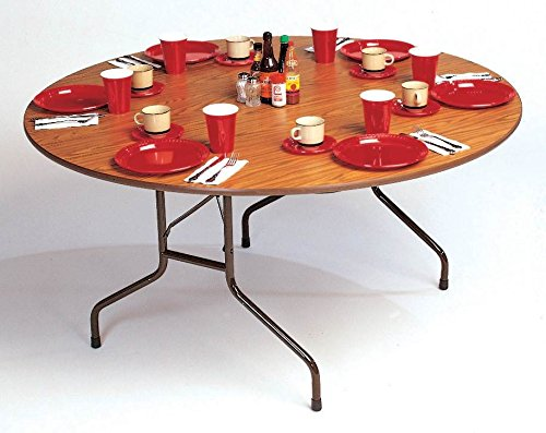 High Pressure Round Adjustable Height Folding Table (60 in./Med Oak)