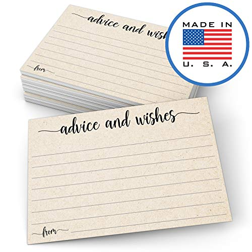 321Done Advice and Wishes Cards (50 Cards) 4 x 6 Blank Well Wishes for Wedding, Bridal, Mr and Mrs, Retirement, Baby Shower - Words of Wisdom - Made in USA, Tan Kraft Look
