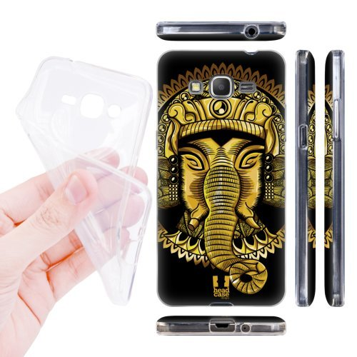 Head Case Designs Gold Elephantism Soft Gel Back Case Cover for Samsung Galaxy Grand Prime 3G 4G Duos LTE G530
