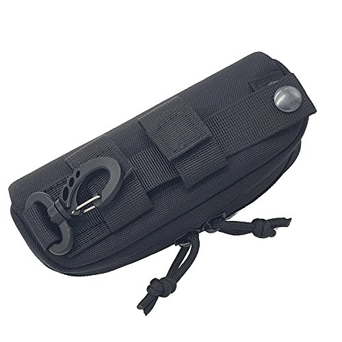 SkyCity Tactical MOLLE Portable Sunglasses Case,1000D Nylon Double Zipper Eyeglasses Bag,Sunglasses Portable Pouch (Black)
