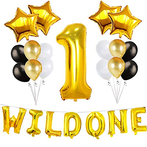 Baby Shower Kids First Birthday 1st Baby Girl Boy Wild One Safari Zoo Jungle Theme Party Balloons Set Decorations - Gold. -