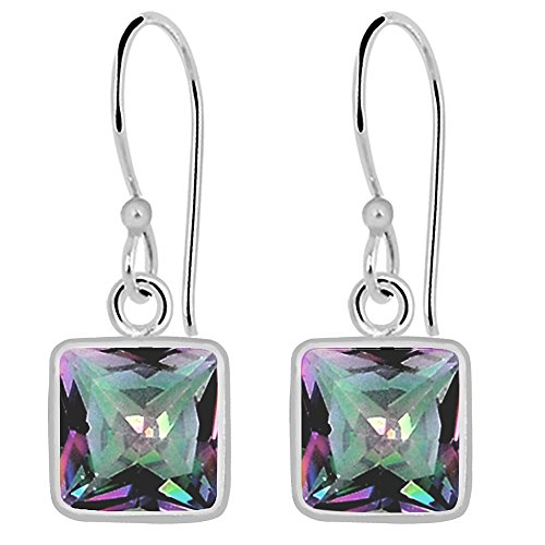 (Orchid Jewelry Faceted 925 Sterling Silver Gemstone Mystic Topaz Earrings, Multi Color Gemstones, Handcrafted, for Girls and Women's, Box (7 Mm Cushion, 3.00 Cttw))