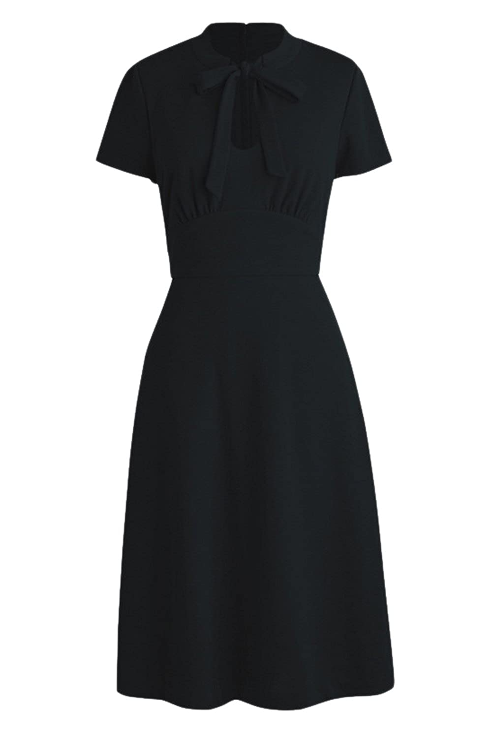 Women Vintage Keyhole Ruched Bowknot Fit and Flare A-Line Dress Black L