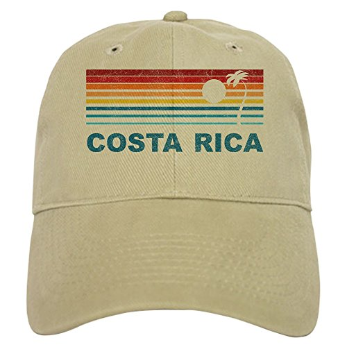 CafePress Retro Costa Rica Palm Tree Baseball Cap with Adjustable Closure, Unique Printed Baseball Hat Khaki
