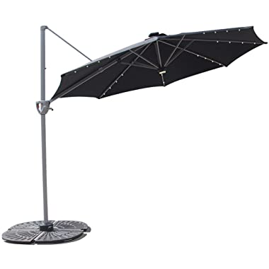 COBANA 10' Offset Patio Umbrella with Solar Powered 32LED and Blue-Tooth Speaker and 360 Degree Rotation Pole,Black