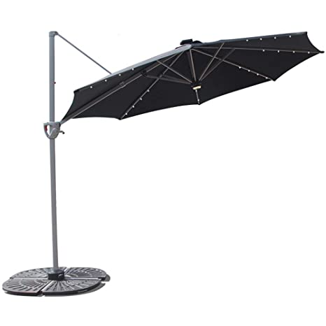COBANA 10' Offset Patio Umbrella – Best Solar-Powered Cantilever Umbrella