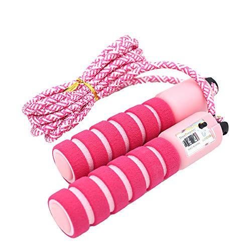 - Jiodux Jump Rope Counter Foam Handled Adjustable Cotton Rope, Skipping Rope Kids Adult - Pink