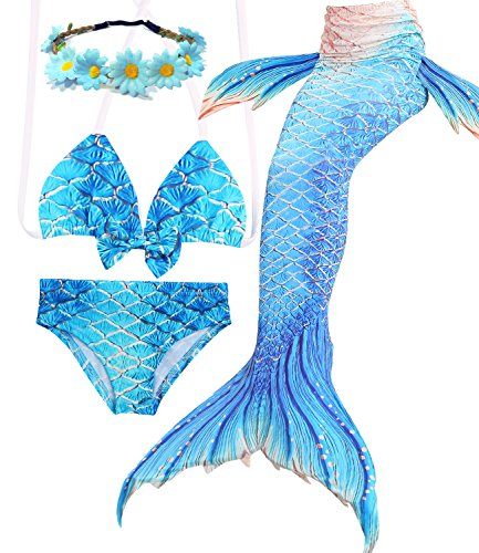 Halloween Mermaid Tail Swimsuit for Girls Swimming Pool Tropical Bikini Party Favors Role Play (Youth Large (fits Like 7-8), B-Gold Blue)