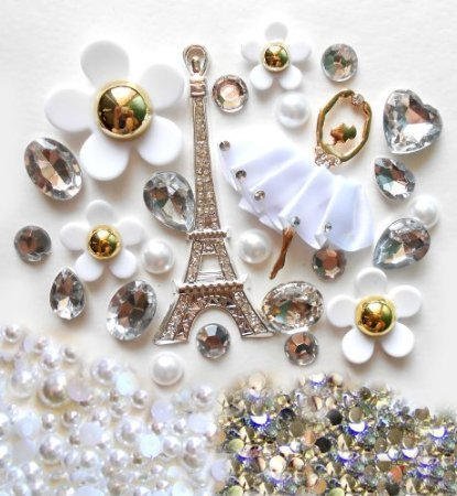 LOVEKITTY -- DIY 3D Silver Eiffel Tower Bling Cell Phone Case Resin Flat back Kawaii Cabochons Deco Kit / Set -- ships from USA by lovekitty
