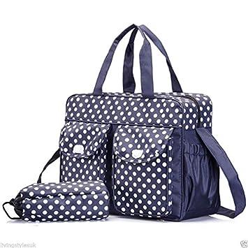 Blue NC 3 PCs Baby Nappy Changing Bag Set Diaper Mummy Handbag Bottle Holder Bags