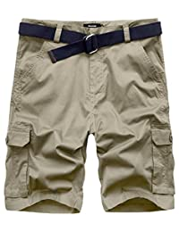 Wantdo Men's Lightweight Relaxed Fit Belted Cargo Shorts