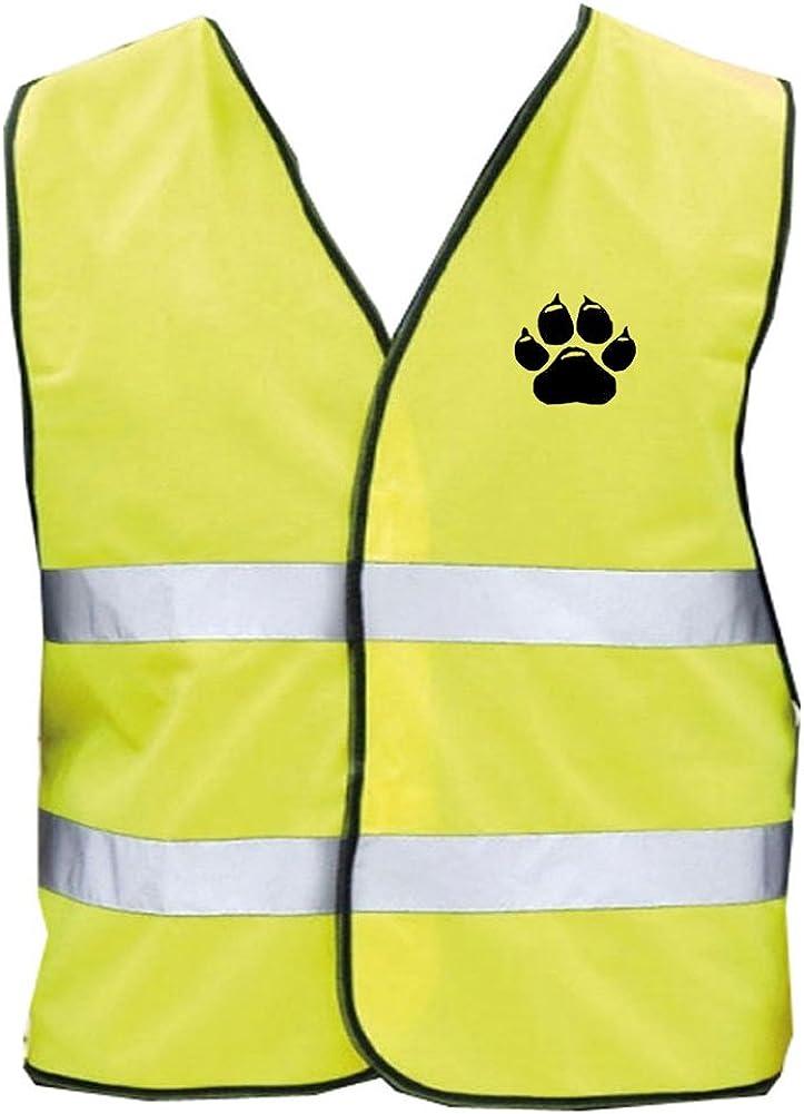 Die mit dem Hund geht Brust- und R/ückendruck Gelb Hundesport Warnweste Sicherheitsweste
