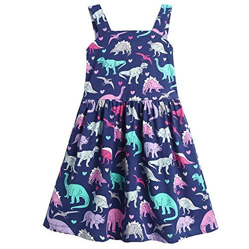 Frogwill Toddler Girls Dinosaur Dress Fifties Summer Tank Top 2-7Y (3T, Dinosaur) -